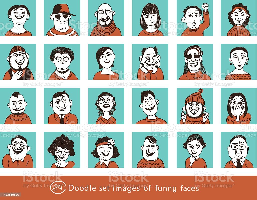 funny characters vector art illustration