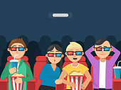 Funny characters watching scary movie in cinema. Horror movie film, scary young together female and male. Vector illustration