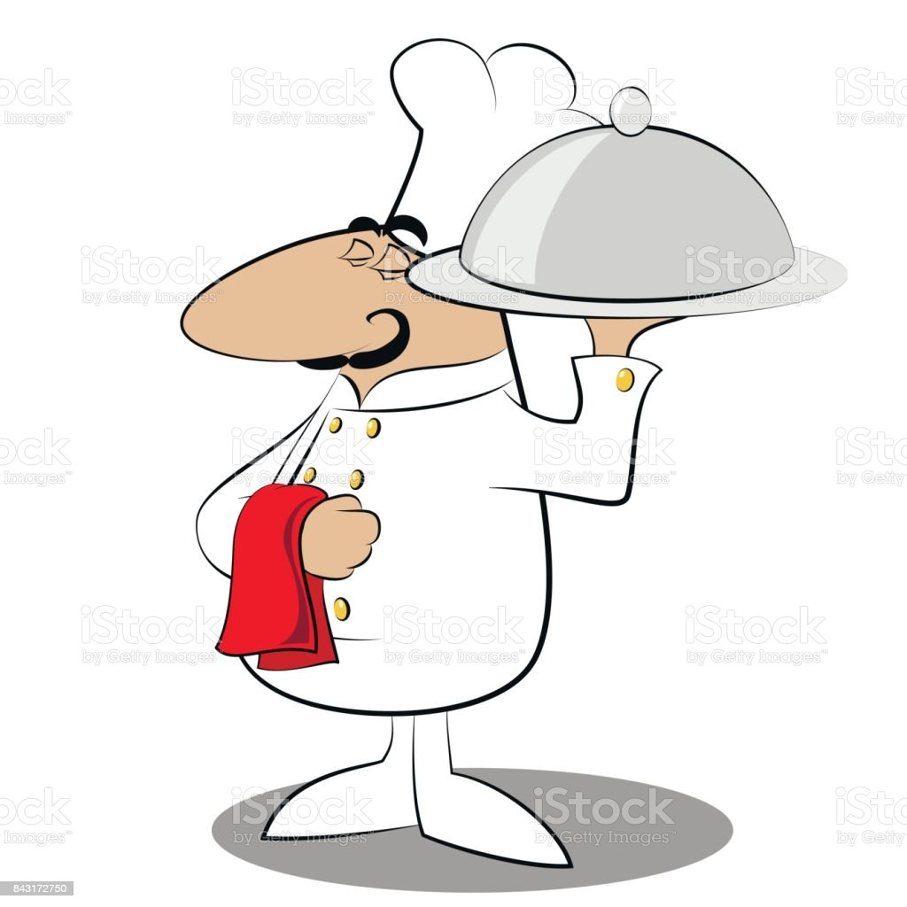 Funny chef cook vector art illustration