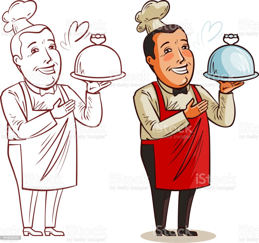 Komik Asci Elinde Tepsi Ile Pisirin Restoran Yemek Gida Kavrami