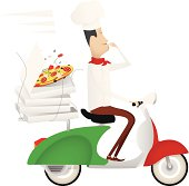 Funny chef delivering pizza on a moped painted as italian flag.