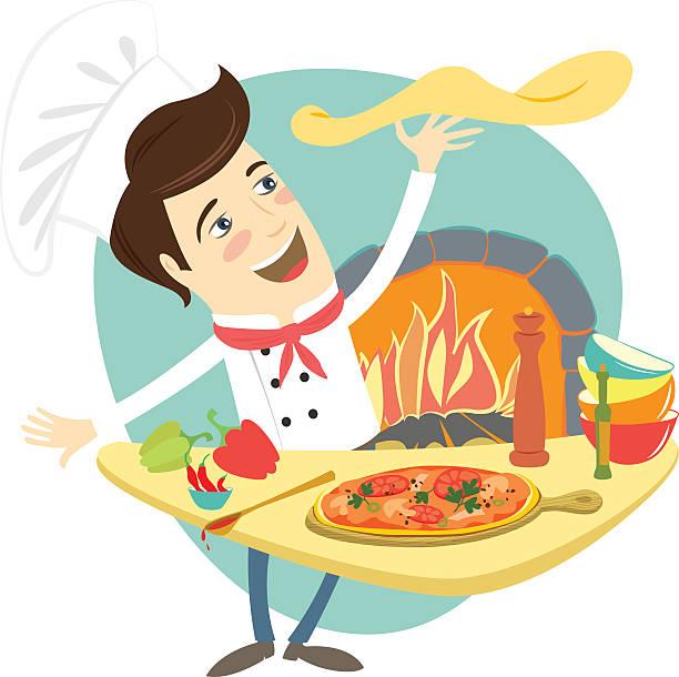 bildbanksillustrationer, clip art samt tecknat material och ikoner med funny chef preparing pizza dish in the kitchen - arbeta köksbord man