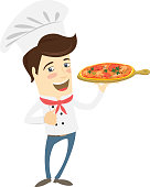 Vector illustration Funny chef serving pizza dish in the kitchen