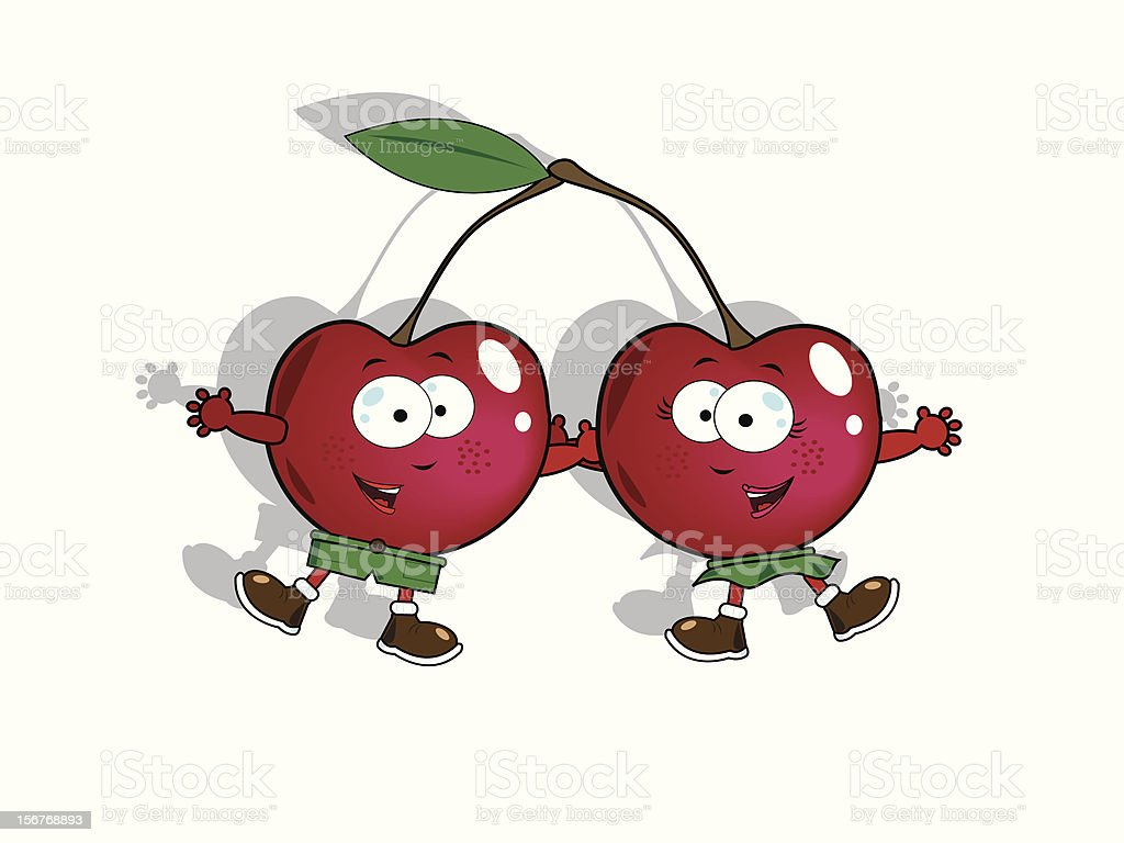 Funny cherries vector art illustration