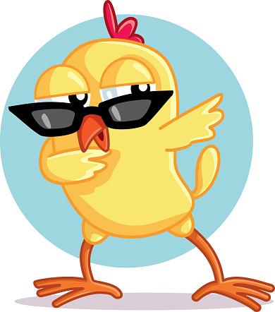 Funny Chick Dabbing Vector Cartoon
