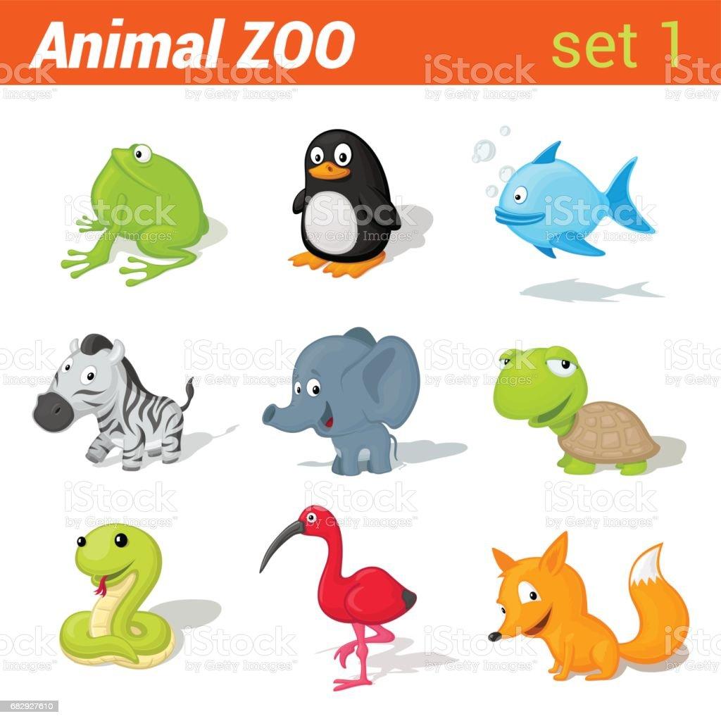 Funny children animals icon set. Kid language learning elements....