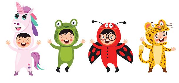 Funny Children Waering Animal Costumes