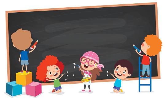 Funny Children With Empty Blackboard