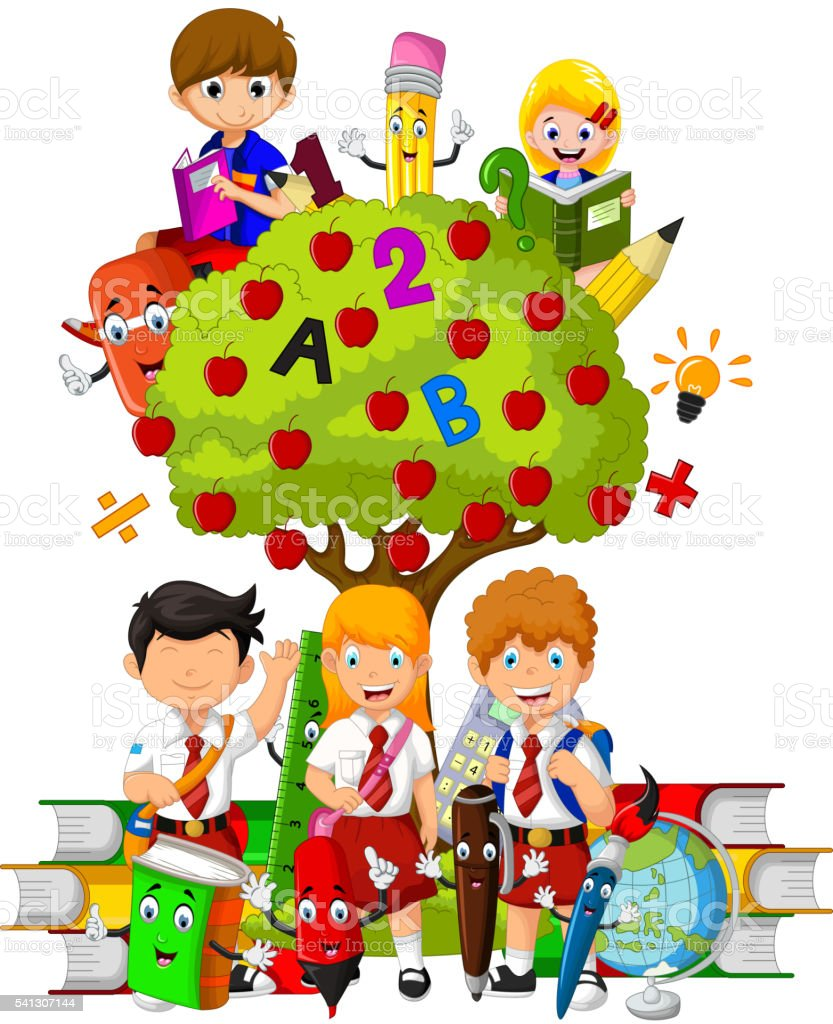 Funny Children With Green Apple Tree Full Of Red Apples Stock Vector