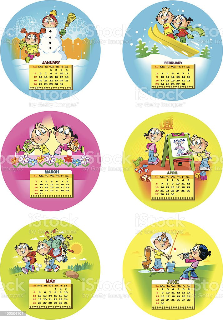 Funny children's calendar royalty-free stock vector art