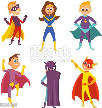 istock Divertido para niños. Super héroes niños y niñas en poses de ...