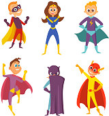 Funny childrens. Superheroes boys and girls in action poses. Cartoon characters set isolate on white