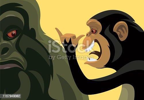 vector illustration of playful chimpanzee meeting gorilla