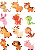 full set vector characters of chinese horoscope signs...