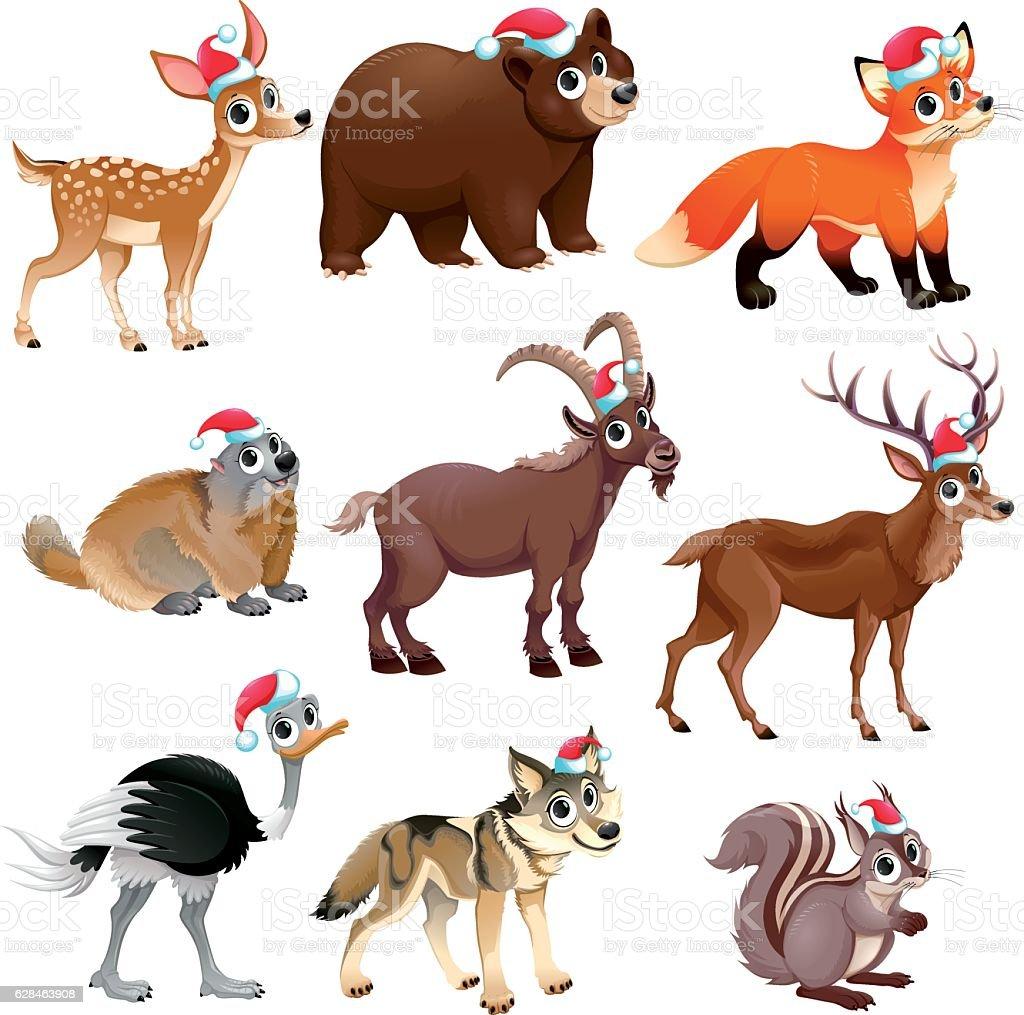 Funny Christmas animals - Illustration vectorielle