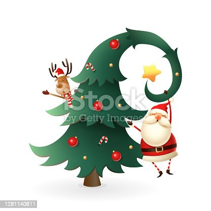 istock Funny Christmas card - Santa Claus and Reindeer on Christmas tree - vector illustration isolated on transparent background 1281140811