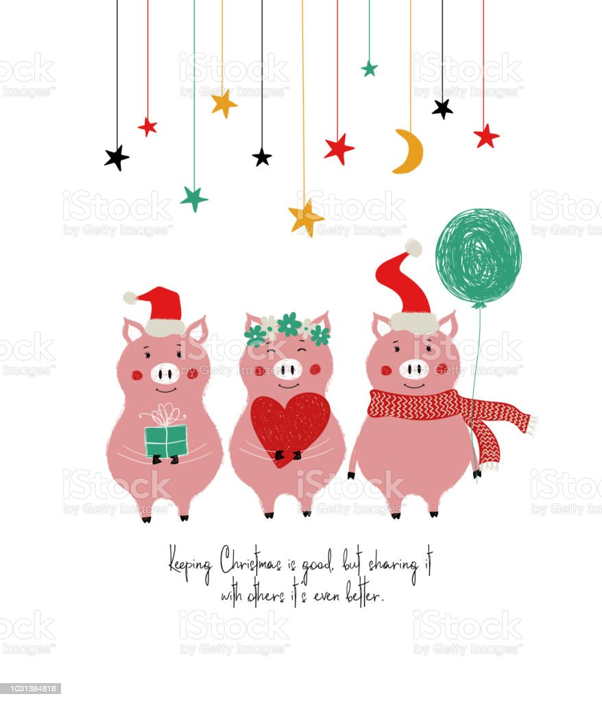 Funny Christmas Card With Cute Pigs Stock Vector Art More Images