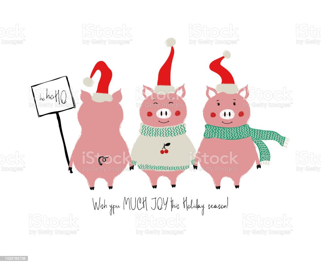 Funny Christmas Card With Pigs Stock Vector Art More Images Of