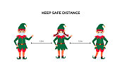 Funny Christmas elves in protective face masks. Keep social distance. Preventive measures during the coronavirus pandemic coivd-19