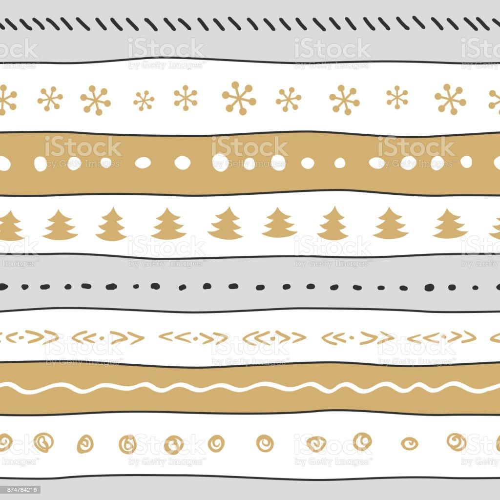 Ilustración de Patrón Divertido De Navidad Con Copos De Nieve árbol ...