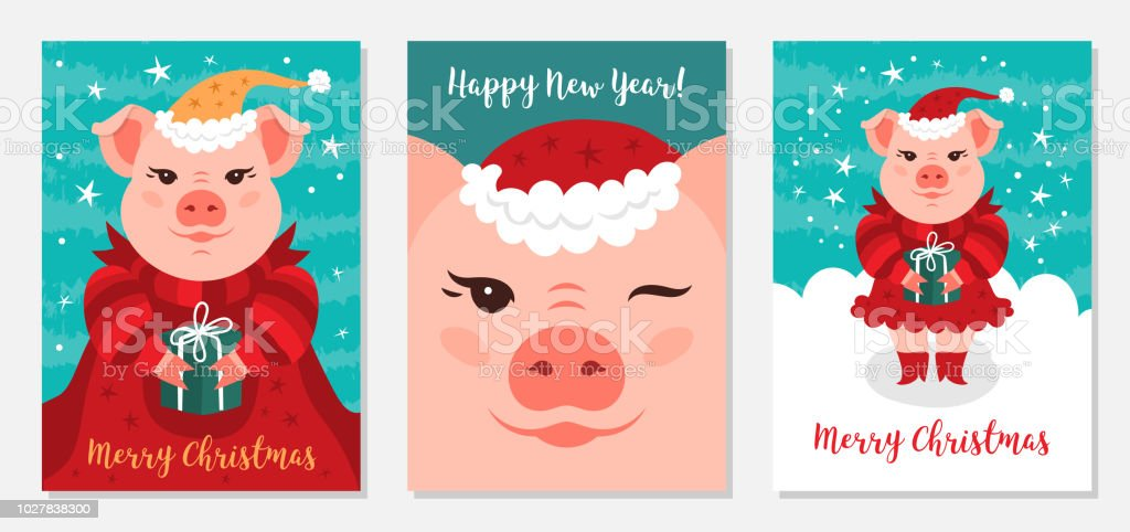 Funny Christmas Images.Funny Christmas Pigs Greeting Cards Merry Christmas And New Year 2019 Pig Santa Claus Collection Of Christmas Cards Vector Illustration Eps 10 Stock