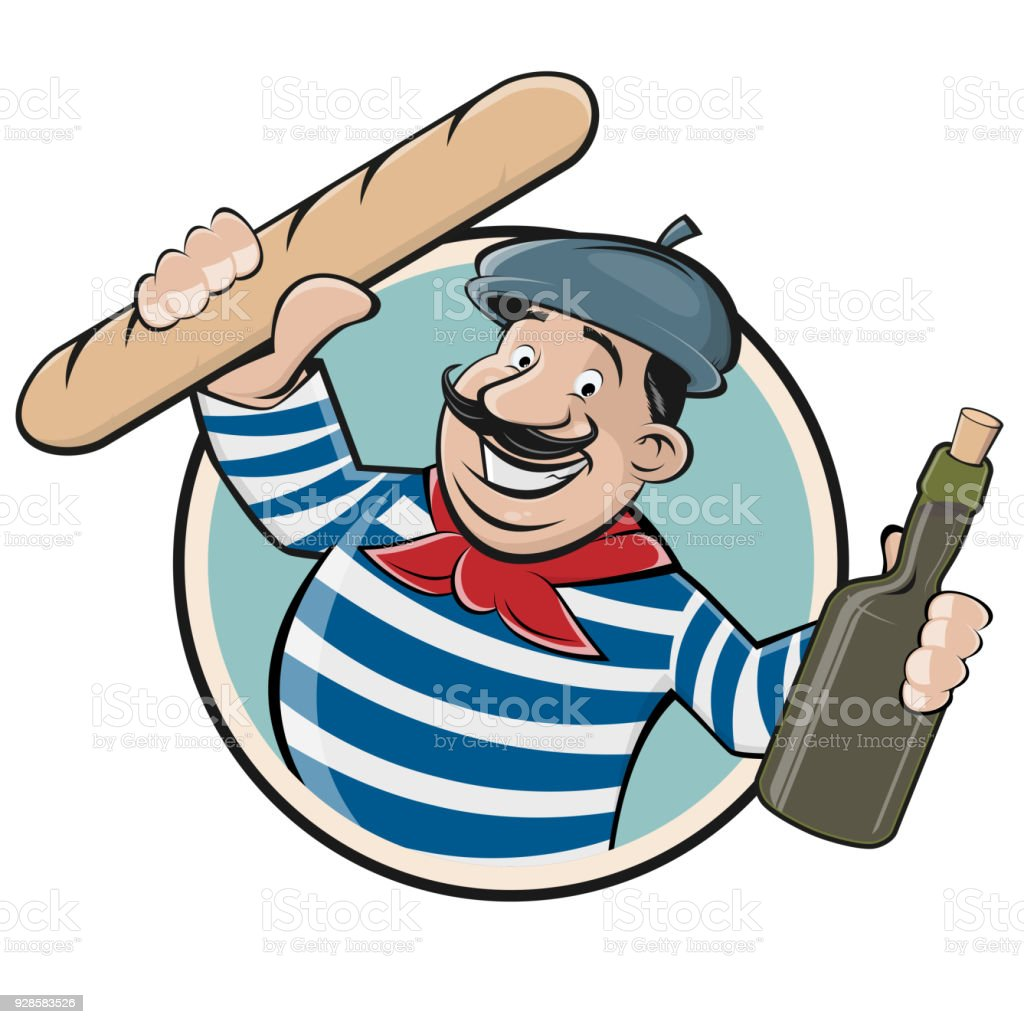 funny clipart of a french man with baguette and wine vector art illustration