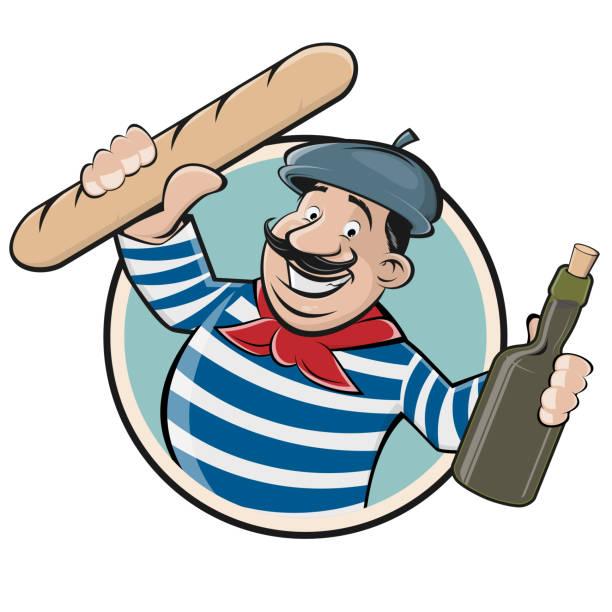 ilustraciones, imágenes clip art, dibujos animados e iconos de stock de divertido clipart de un hombre francés con baguette y vino - cultura francesa