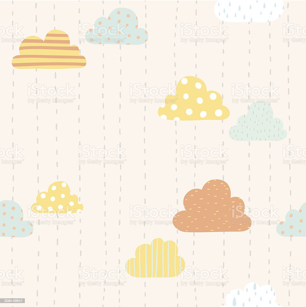 Funny clouds pattern vector art illustration