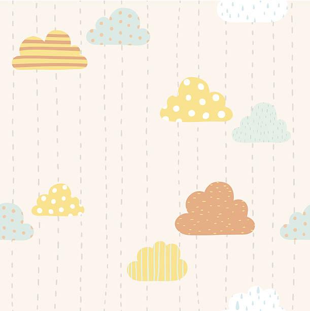bildbanksillustrationer, clip art samt tecknat material och ikoner med funny clouds pattern - children autumn