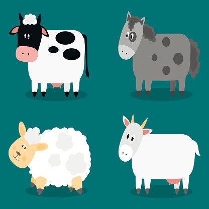 Funny cloven hoof farm animals collection