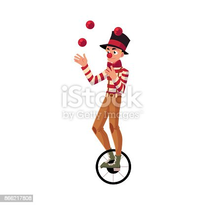 Funny clown juggling balls while riding unicycle, one wheeled bicycle, cartoon vector illustration isolated on white background. Circus ball juggler and equilibrist balancing on unicycle