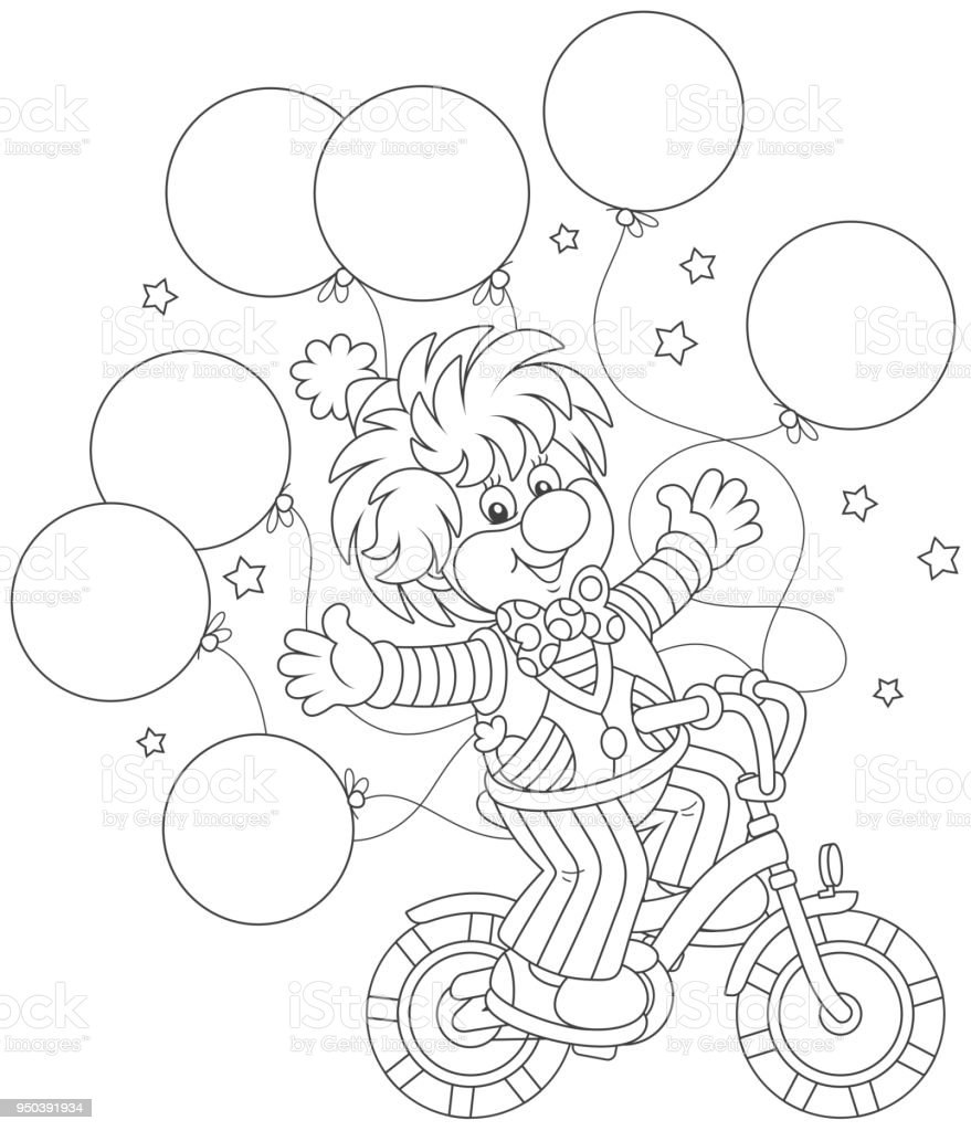 Funny Clown Riding His Bicycle Stock Vector Art & More Images of ...