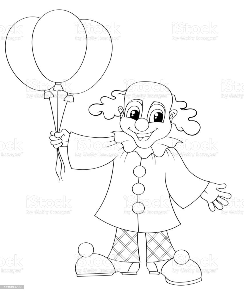 Funny Clown With Balloons Black And White Vector Illustration For ...