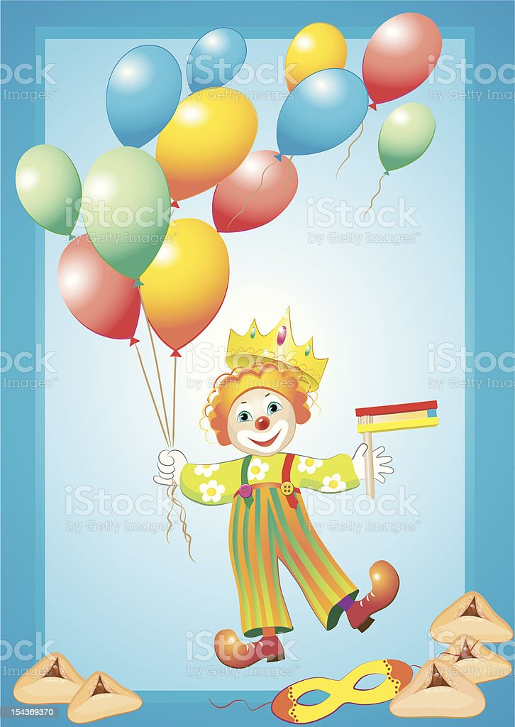 funny clown with balloons, mask, noise maker and purim cookies royalty-free funny clown with balloons mask noise maker and purim cookies stock vector art & more images of backgrounds