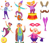 Funny clowns characters and different circus accessories