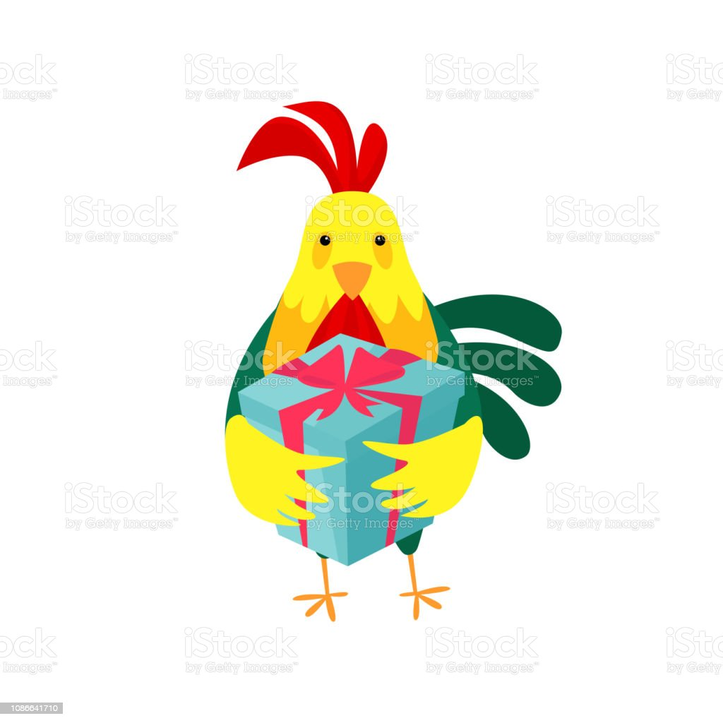 Funny Cock Pics funny cock holding gift box stock illustration - download
