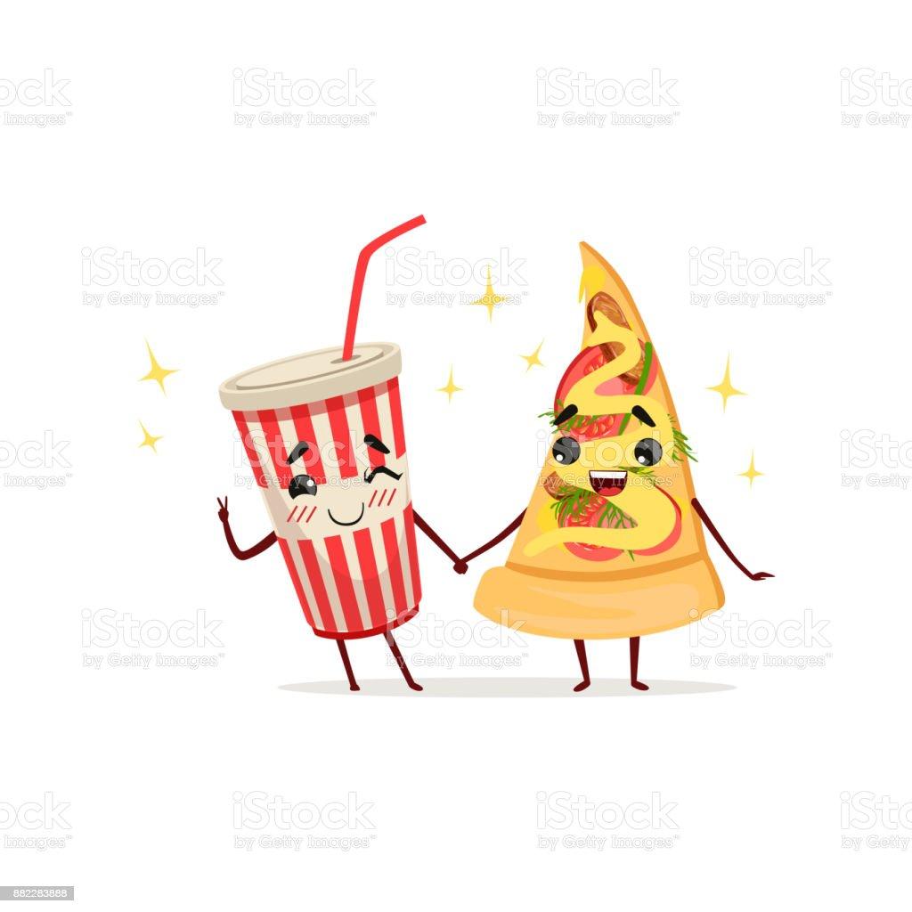 Lustige Cocktail und Scheibe der Pizza Zeichen Hand in Hand. Fastfood-Konzept. Isolierte flache Vektor-illustration – Vektorgrafik
