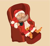 Funny Color Christmas background with Santa Claus resting in chair, retro cartoon holiday illustration