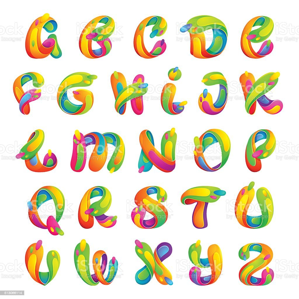 Funny colorful alphabet letters. vector art illustration
