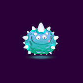Funny glowing monster or cosmic alien cartoon comic fury round character with cute small horns the vector illustration isolated on dark background. Cute computer game asset.