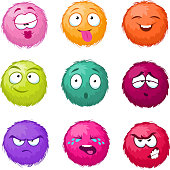 Funny colorful cartoon fluffy ball vector fuzzy characters set. Monsters with different emotion