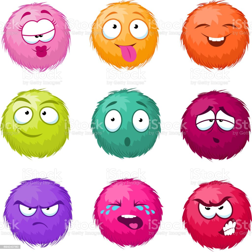 Funny colorful cartoon fluffy ball vector fuzzy characters set. Monsters with different emotion vector art illustration