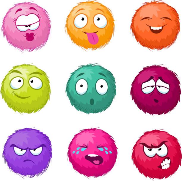 stockillustraties, clipart, cartoons en iconen met grappige kleurrijke pluizig bal vector fuzzy stripfiguren instellen. monsters met verschillende emotie - wollig