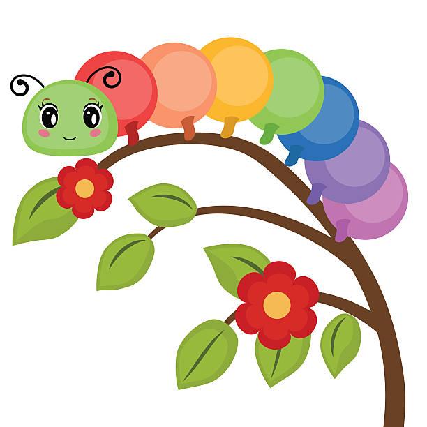 stockillustraties, clipart, cartoons en iconen met funny colorful caterpillar - rups
