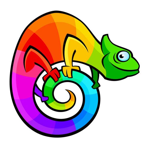 funny colorful chameleon - chameleon stock illustrations