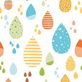 Funny colorful drops of rain Vector autumn seamless pattern Kids fall background Autumn doodles card Season of the rain, illustration, cute wallpaper Color doodle background wrap scrap paper cover