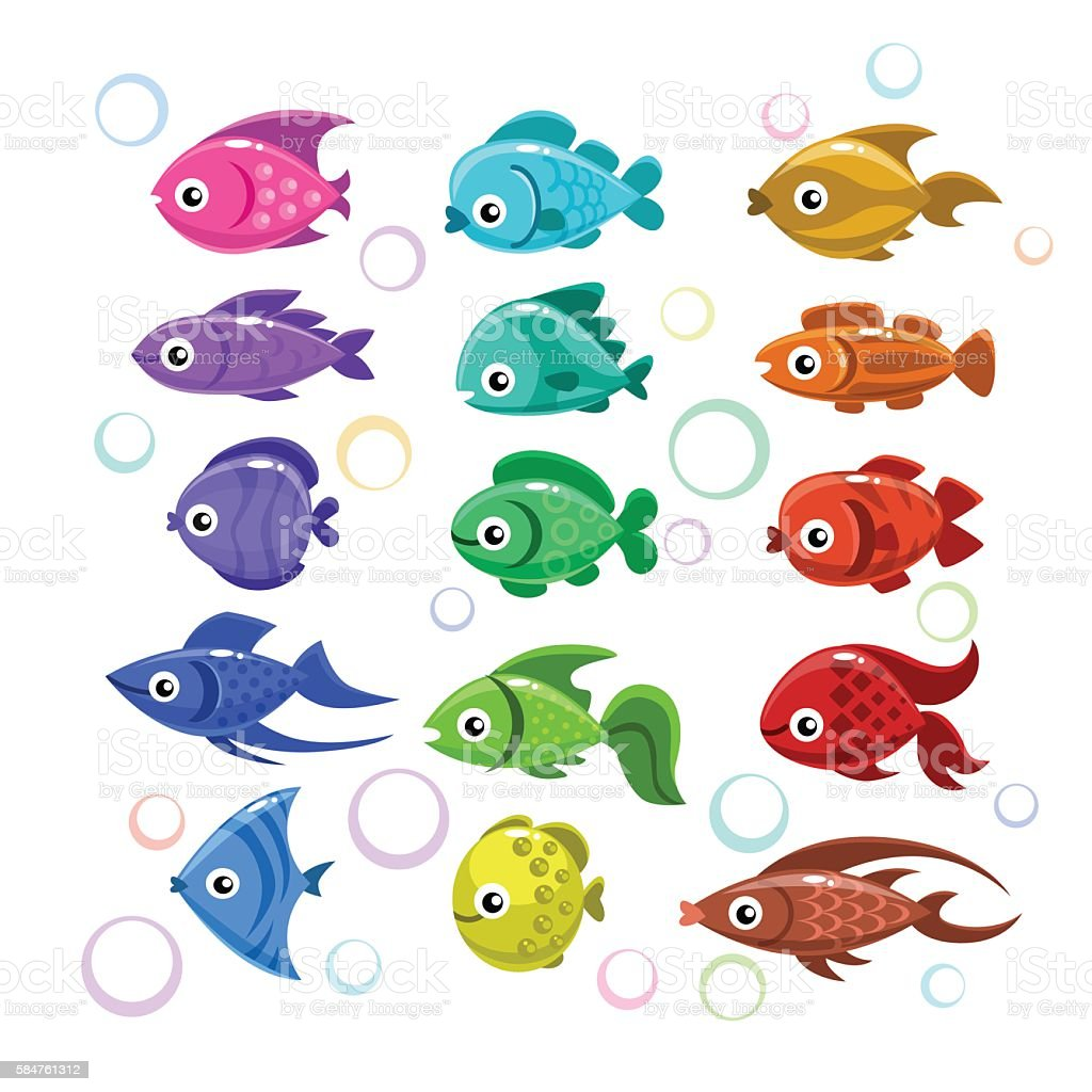 Funny colorful fishes vector art illustration