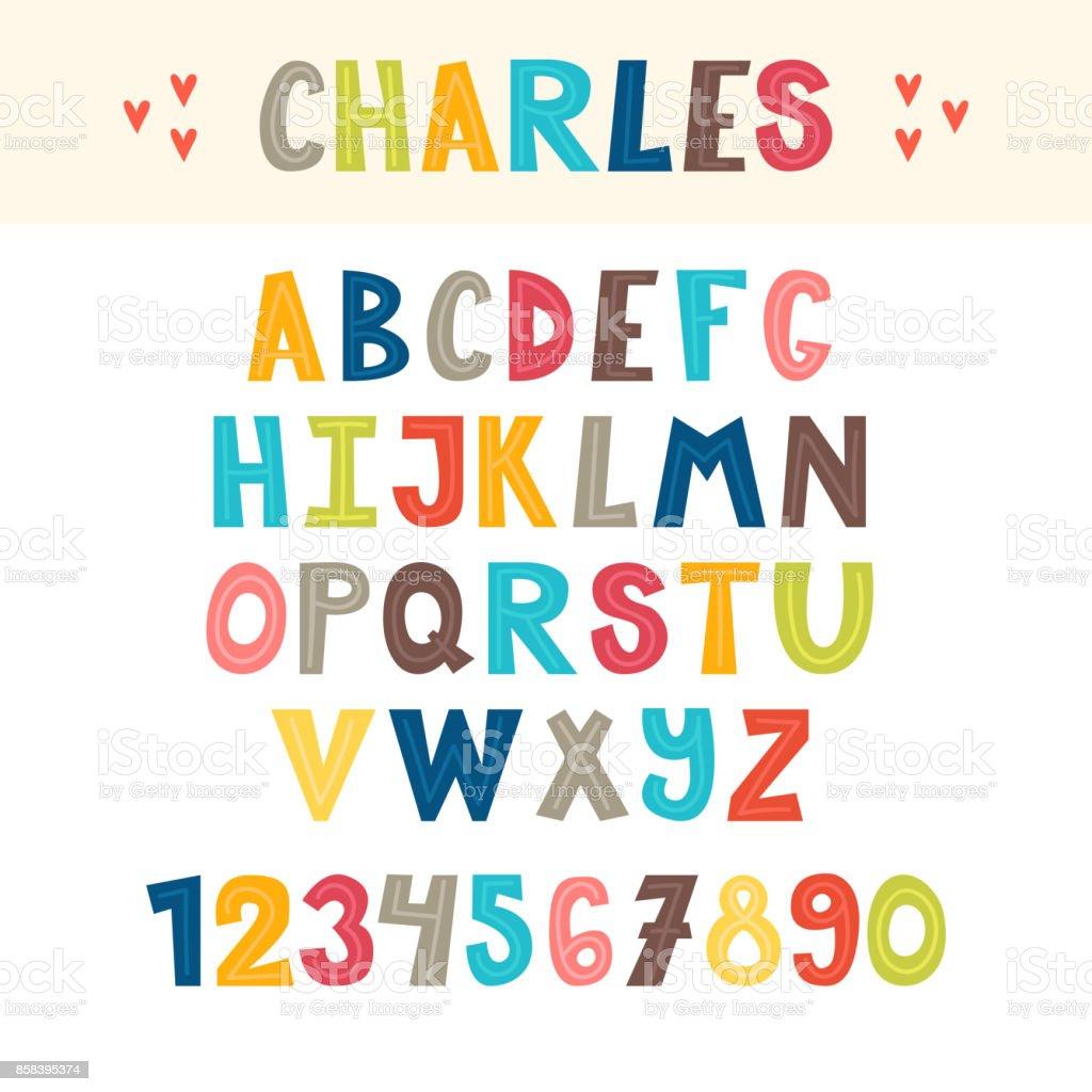 面白いカラフルな手には英語のアルファベットが描かれました