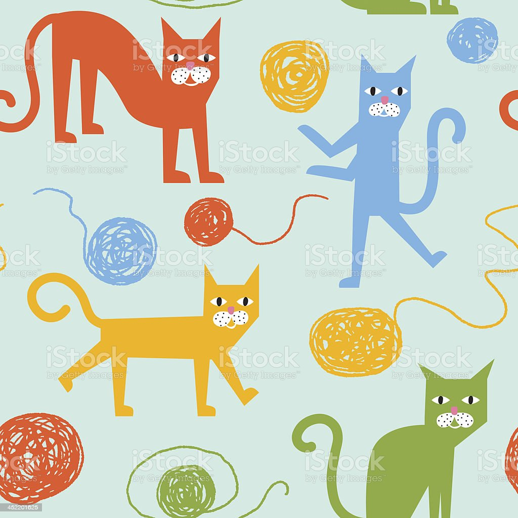 Funny colorful vector seamless pattern with cheerful cats royalty-free stock vector art