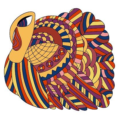 Funny colorific turkey bird stock vector illustration